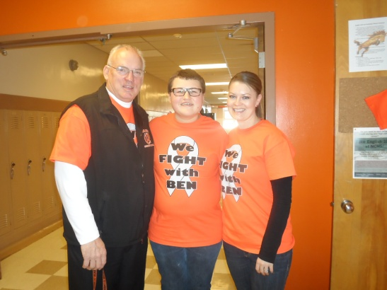 Ben (middle) stands alongside Mr. Brian Sanders (left) and Ms. Julie Patterson (right)  ©Natrona County School District 2014
