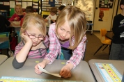 Verda James first grade students share notes of appreciation.©Natrona County School District