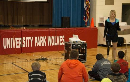 Karsyn visits with students at University Park Elementary.